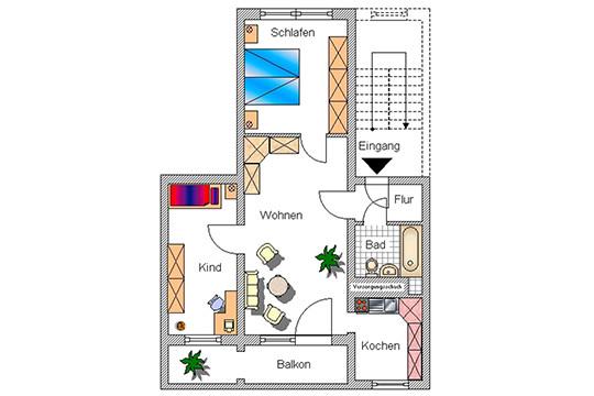 Beispiel Grundriss 3-Raum-Wohnung